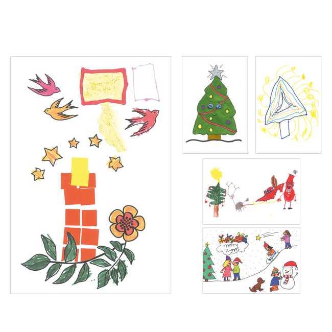 Kika kaartenset Kerst - kindertekeningen